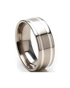 8mm Pipe Cut Silver & Titanium Wedding Ring