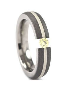 Titanium Tension Setting Ring with Sterling Silver Inlay, Sand Blasted