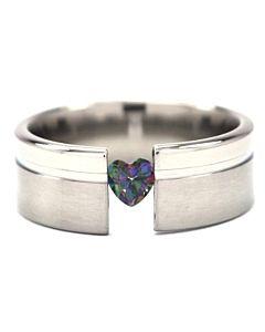 Mystic Topaz Tension Rings Heart Stone Titanium Ring