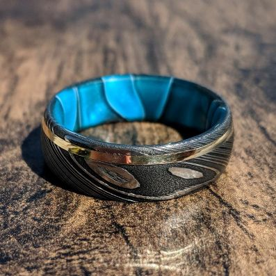 14k Gold Blue Ocean Sleeve Damascus Steel Ring, Mens Wedding Band Damascus Steel Ring