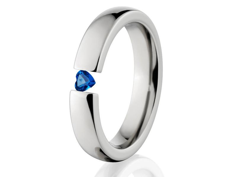 4mm Titanium Tension Set Rings, Heart Blue Topaz