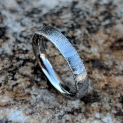 Gibeon Meteorite Wedding Band with Cobalt Chrome Sleeve - 4mm Authentic Genuine Gibeon Meteorite Ring