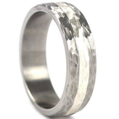 New 6 mm Titanium Ring with Sterling Silver Inlay and Hammer Finish, USA made Titanium Wedding Ring