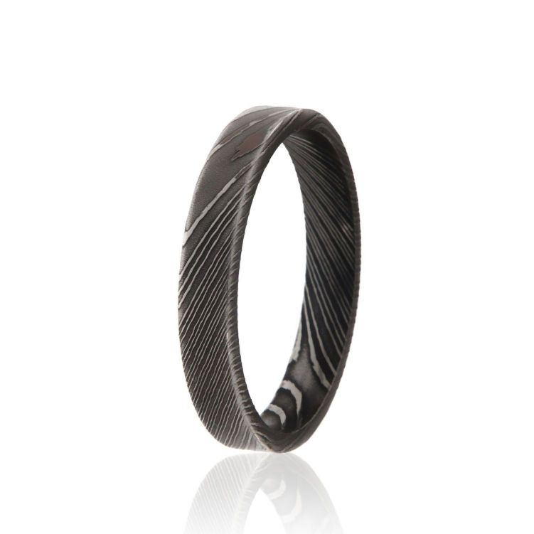4mm Flat Woodgrain Damascus Steel Ring USA Made Damascus Wedding Rings