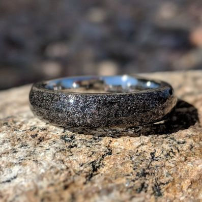 6mm Gibeon Meteorite Wedding Band Stardust Rings - Authentic Genuine Gibeon Meteorite Rings