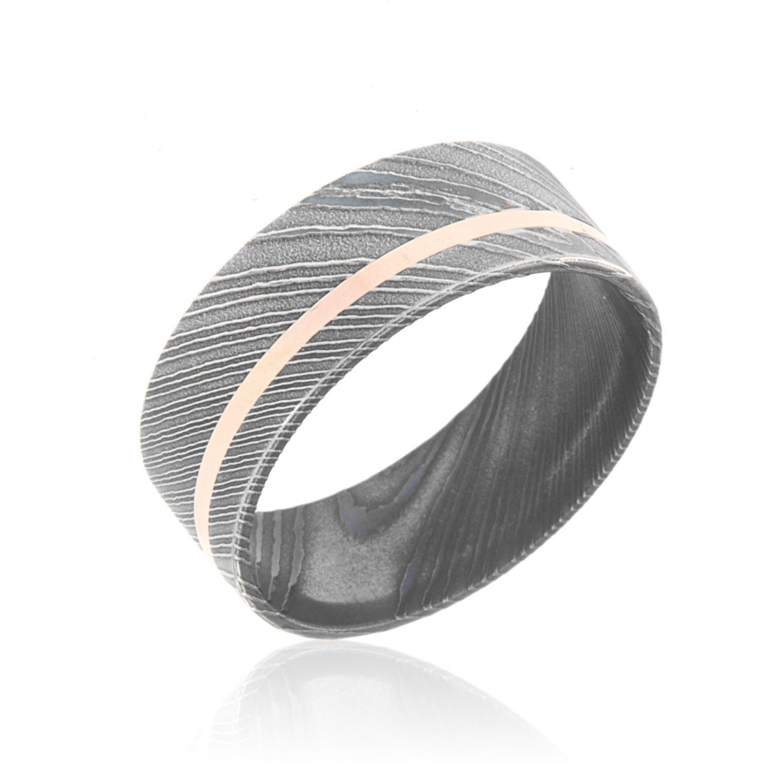 Damascus Steel Wedding Ring Acid Etched Damascus Steel Band With 14k ...