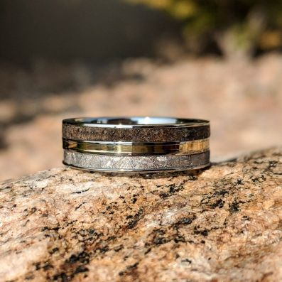 Meteorite Ring with 14k Gold and Dinosaur Fossil Inlay, Custom Made 14k Gold Meteorite Wedding Band