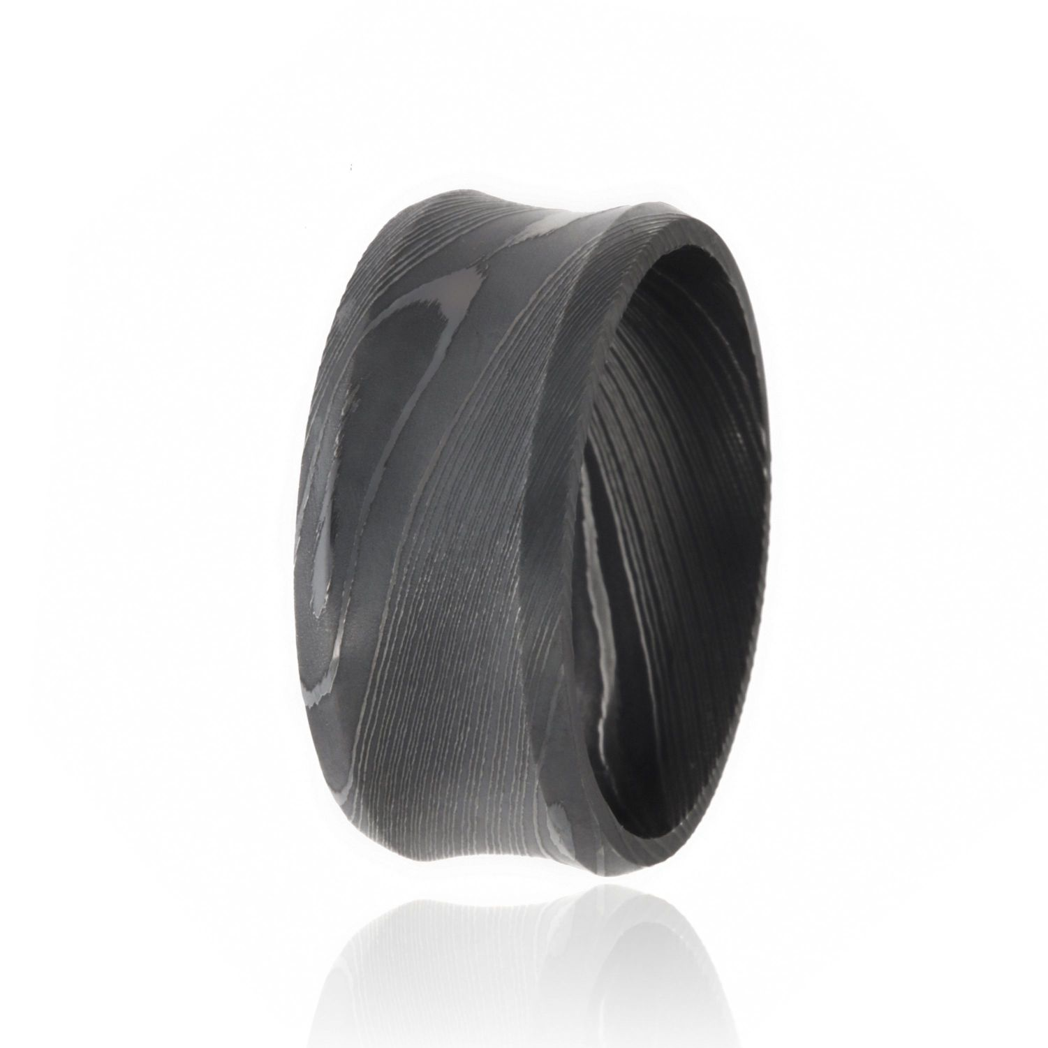 Damascus Steel Bands For Men USA Made Damascus Steel Rings Black 10mm Wedding Bands