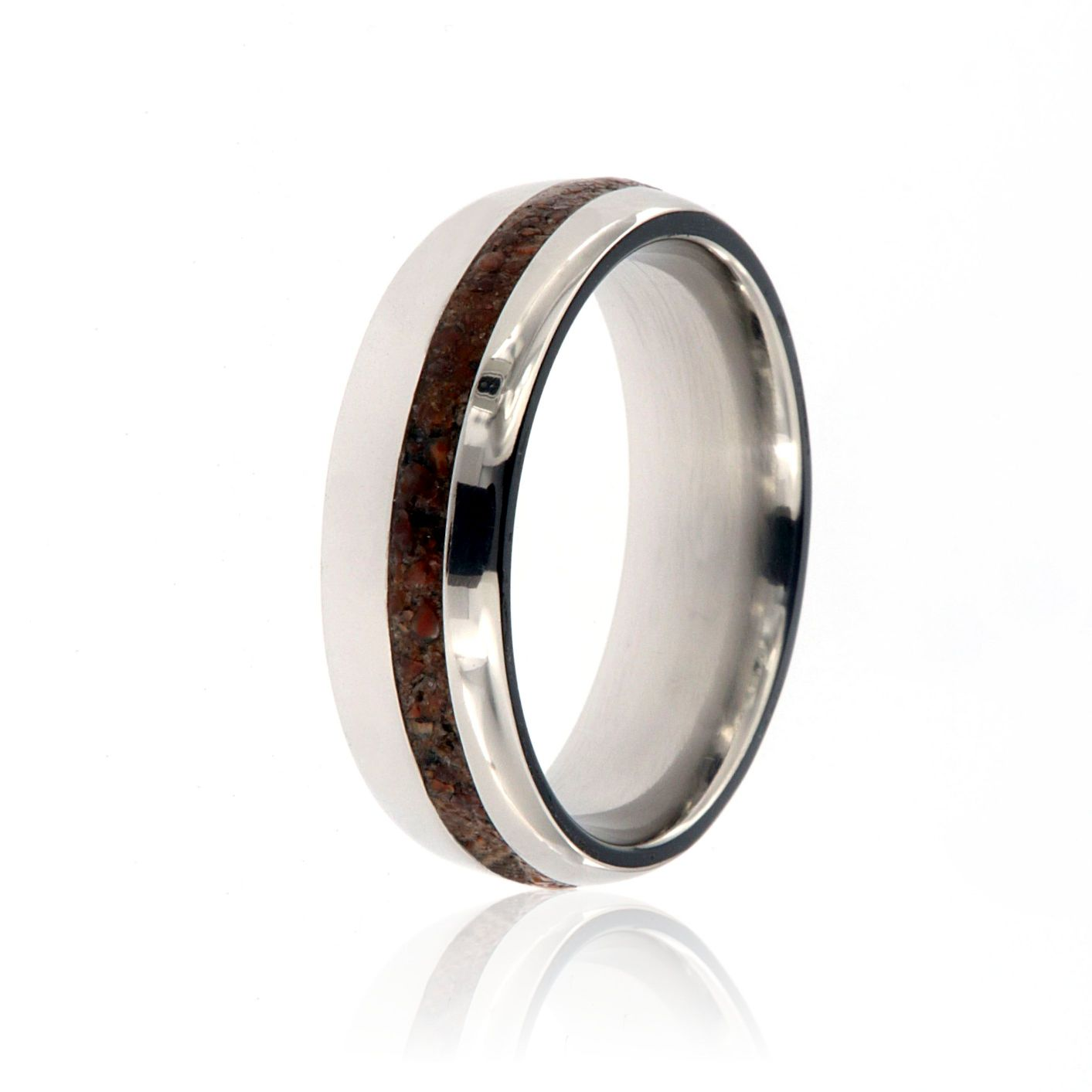 Dinosaur Bone Ring 7mm Wide With Solid Titanium Off Center 2mm Groove Usa Made: Inexpensive Wedding Bands For Men Duck At Reisefeber.org