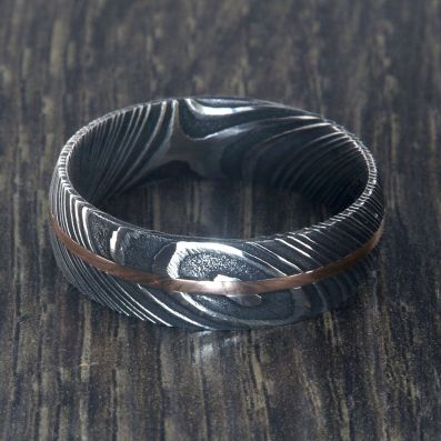 7mm Wide Damascus Steel Ring with 14k Rose Gold Inlay