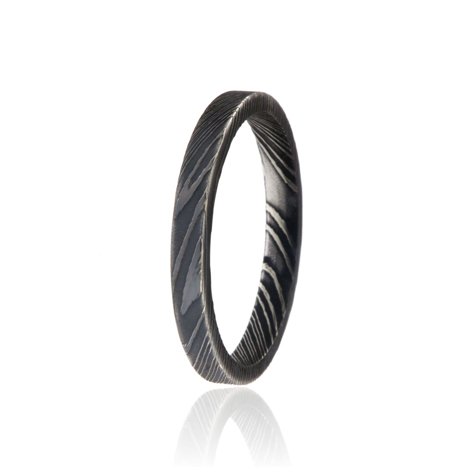 3mm Flat Woodgrain Damascus Steel Ring USA Made Damascus Wedding Rings