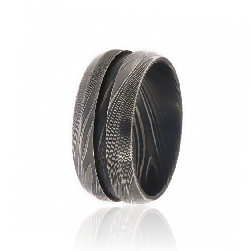 10mm Beveled Damascus Steel Wedding Bands For Men