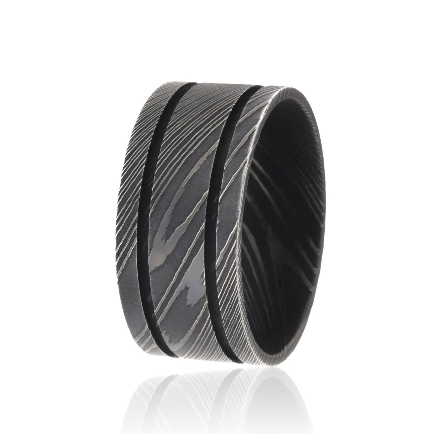 11mm Wide Damascus Steel Rings For Men USA Made Damascus Bands Black Wedding Bands