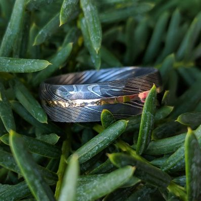 8mm Wide Hammered Damascus Steel Wedding Bands with 14k Solid Rose Gold Inlay