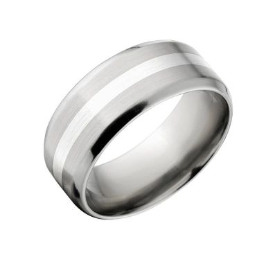 New 10mm Titanium Ring with Sterling Silver Inlay: 10FB12GBR-SSINLAY