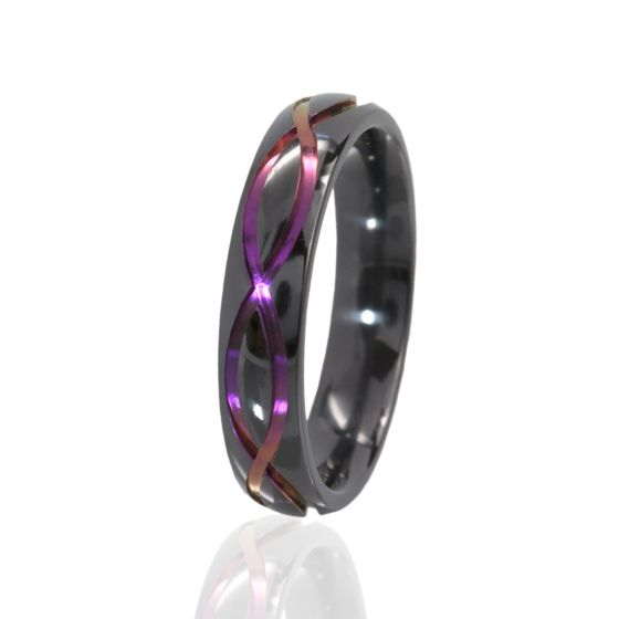 5mm Purple Anodized Ring, Infinity Symbol, Black Zirconium Ring