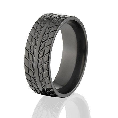 Tire Tread Ring Wedding Bands Black
