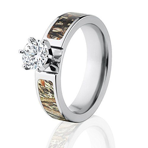 Round CZ Mossy Oak Duck Blind Camo Ring, Women's Camo