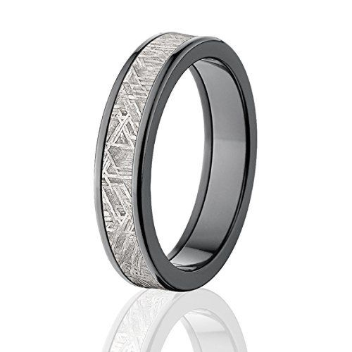 Dark Black Zirconium and Meteorite Rings w/  Comfort Fit & Warranty