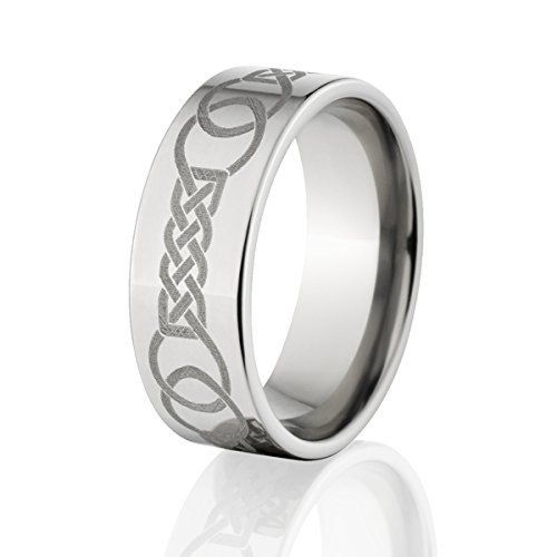 Comfort Fit Celtic Wedding Rings, Titanium Ring