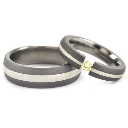 Matching Titanium and Sterling Silver Wedding Ring Set