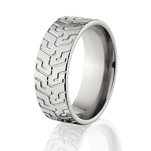 Titanium Tire Bands and Tire Tread Wedding Rings