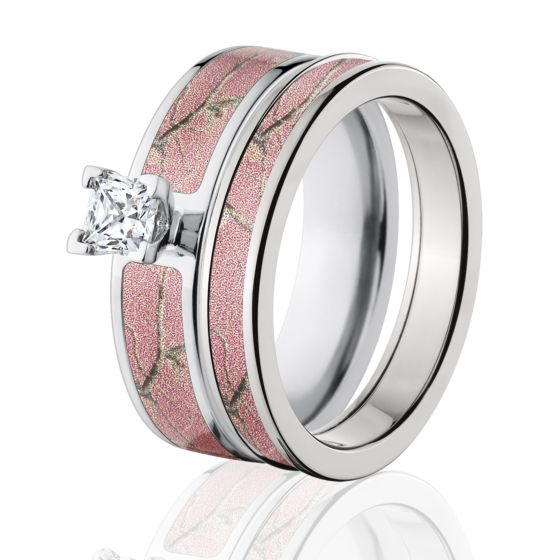 RealTree AP Pink Camo Bridal Set, Pink Camo Engagement Ring Set