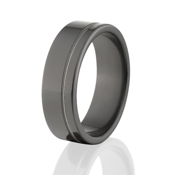 all black wedding rings usa made 7mm black zirconium ring - All Black Wedding Rings