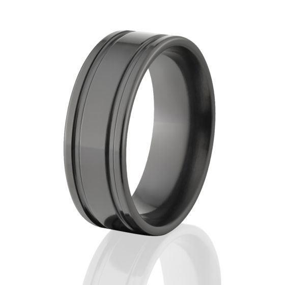 Black Wedding Bands: 7mm Black Zirconium Ring