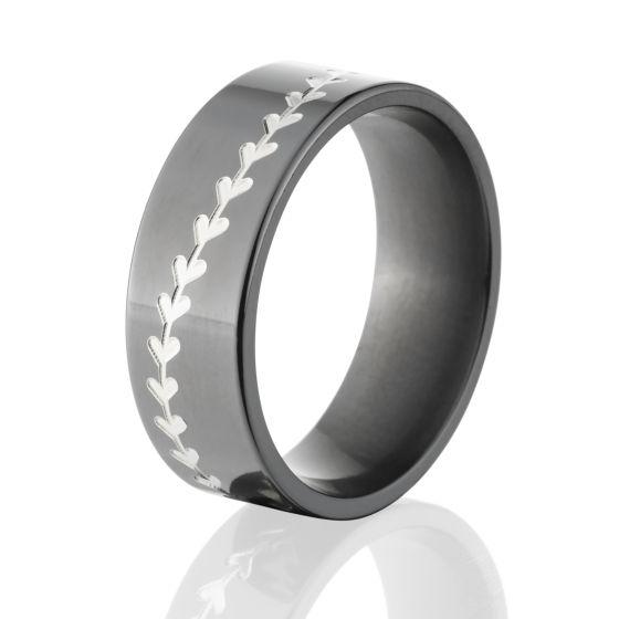 Black Baseball Wedding Rings, USA Made Baseball Bands