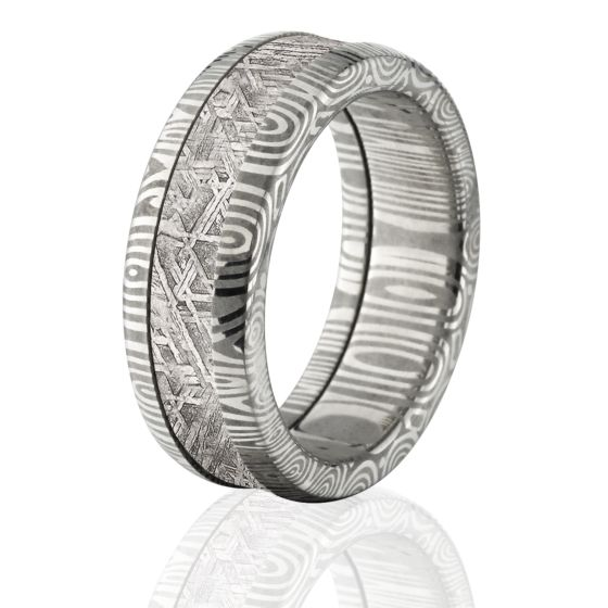 Meteorite Ring Crafted With Gibeon Meteorite And Damascus Steel