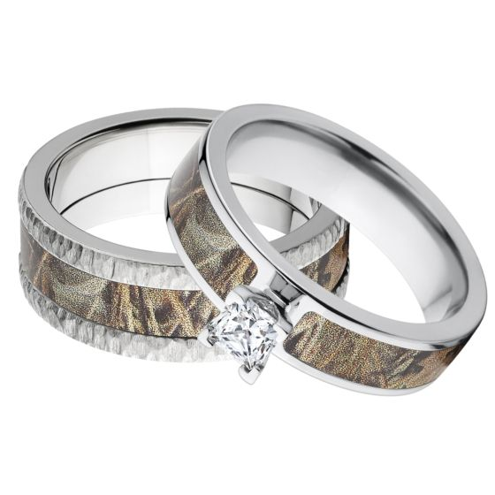 RealTree Max 4 Camouflage Wedding Ring Set Outdoor Rings