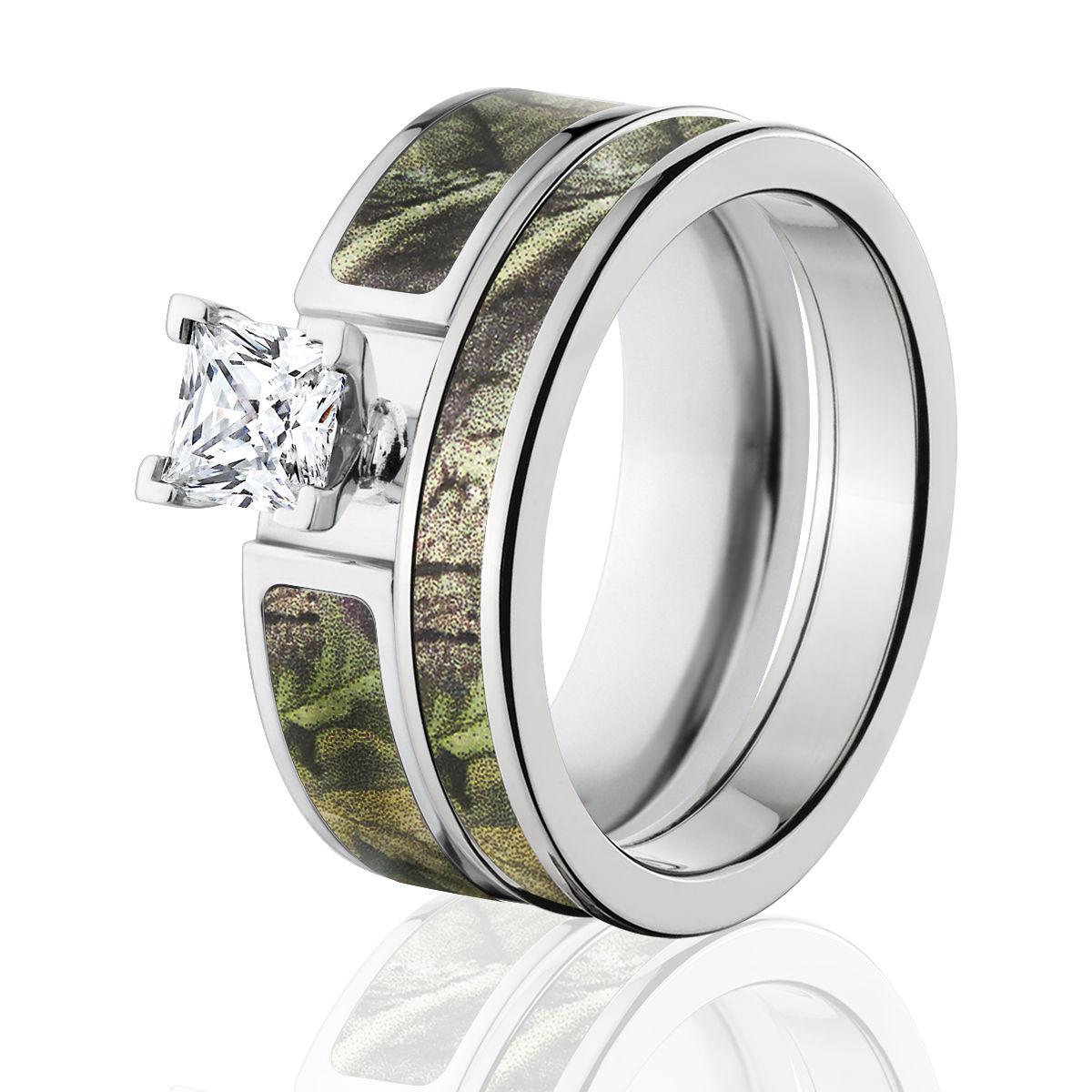 Realtree Wedding Rings: RealTree Green Camo Bridal Set, Camo Wedding Ring Set