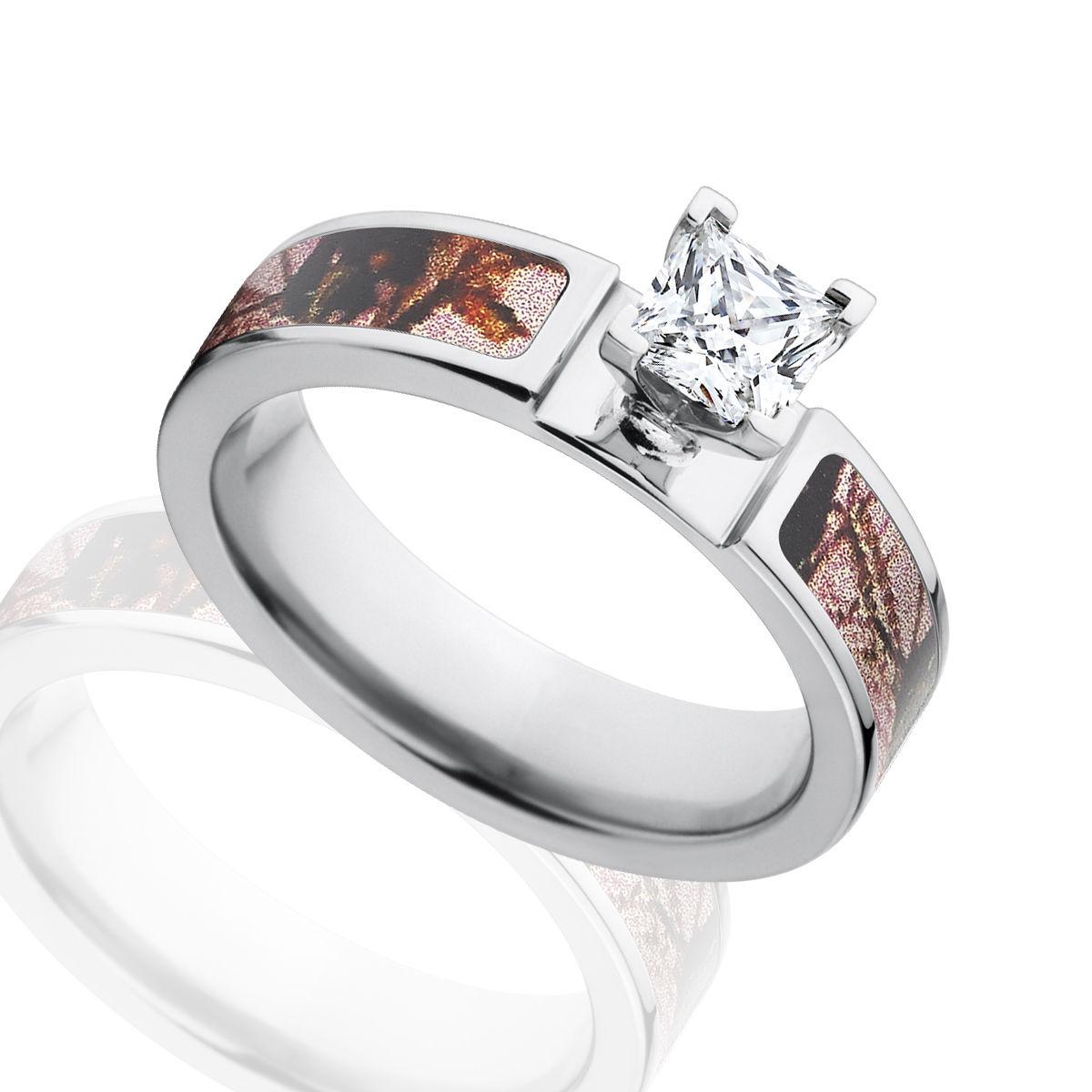 43270770e Princess Cut CZ Mossy Oak Pink Break Up Engagement Camo Ring