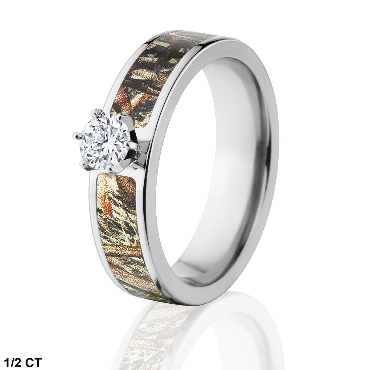 Mossy Oak Camo Engagement Ring w/ Genuine Diamond - Duck Blind Camo