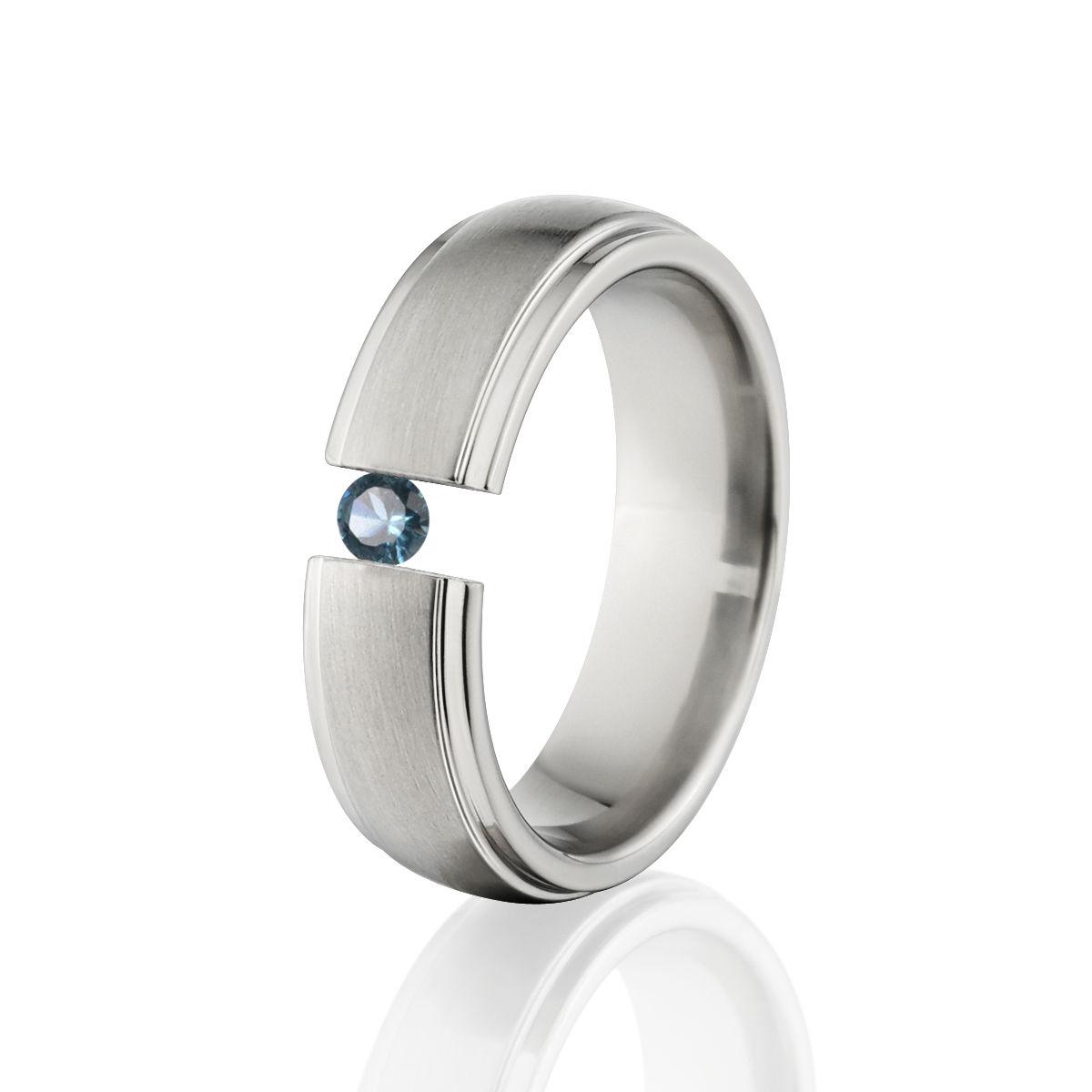 Blue Topaz Tension Set Ring, 7mm Blue Topaz Ring, Titanium Ring