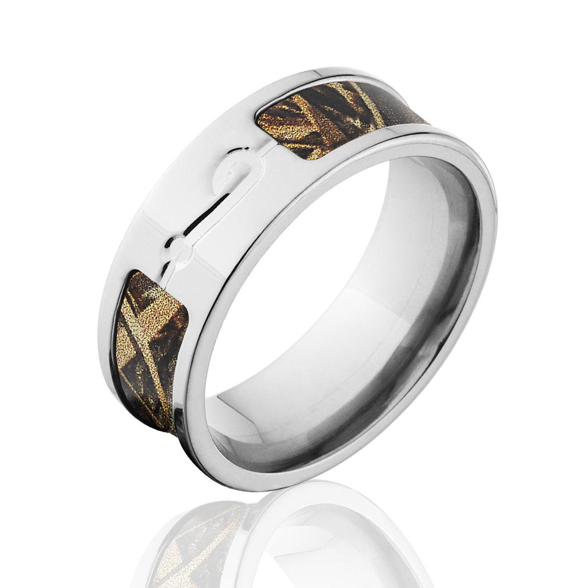 Max 5 Camo Wedding Rings Titanium RealTree Camo Fishhook Ring