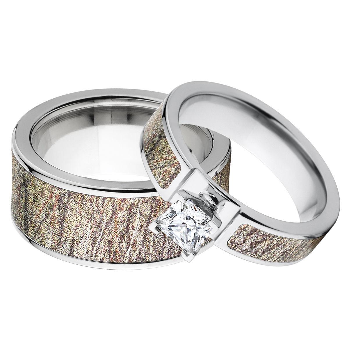 Camo Outdoor Wedding Ideas: Outdoor Wedding Ring Sets, Brush Camo Ring Set