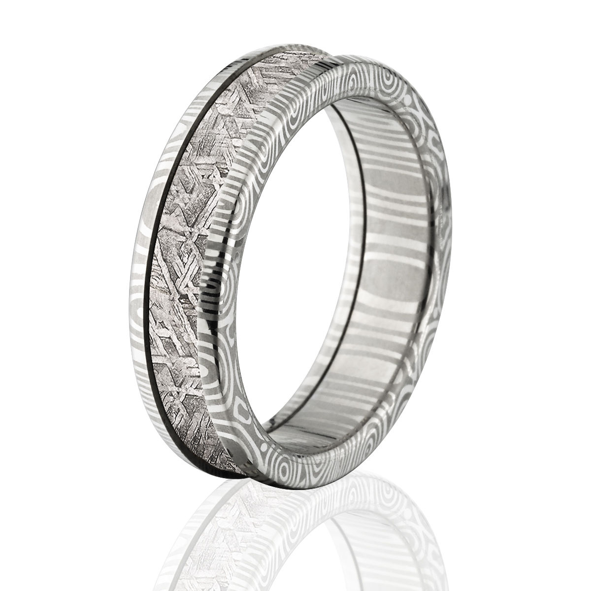 6mm Meteorite Wedding Band Gibeon Meteorite Ring & Combo Damascus Steel