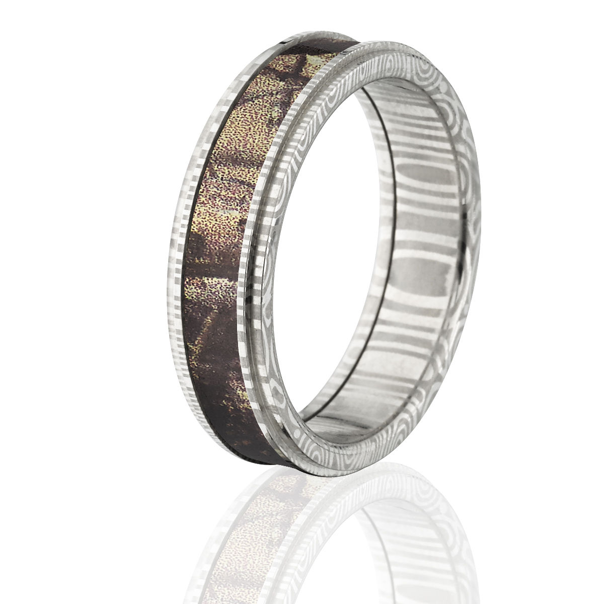Damascus Steel 6mm wide Camo Ring Custom Made Real Tree AP band DS/_6RC/_XTRA