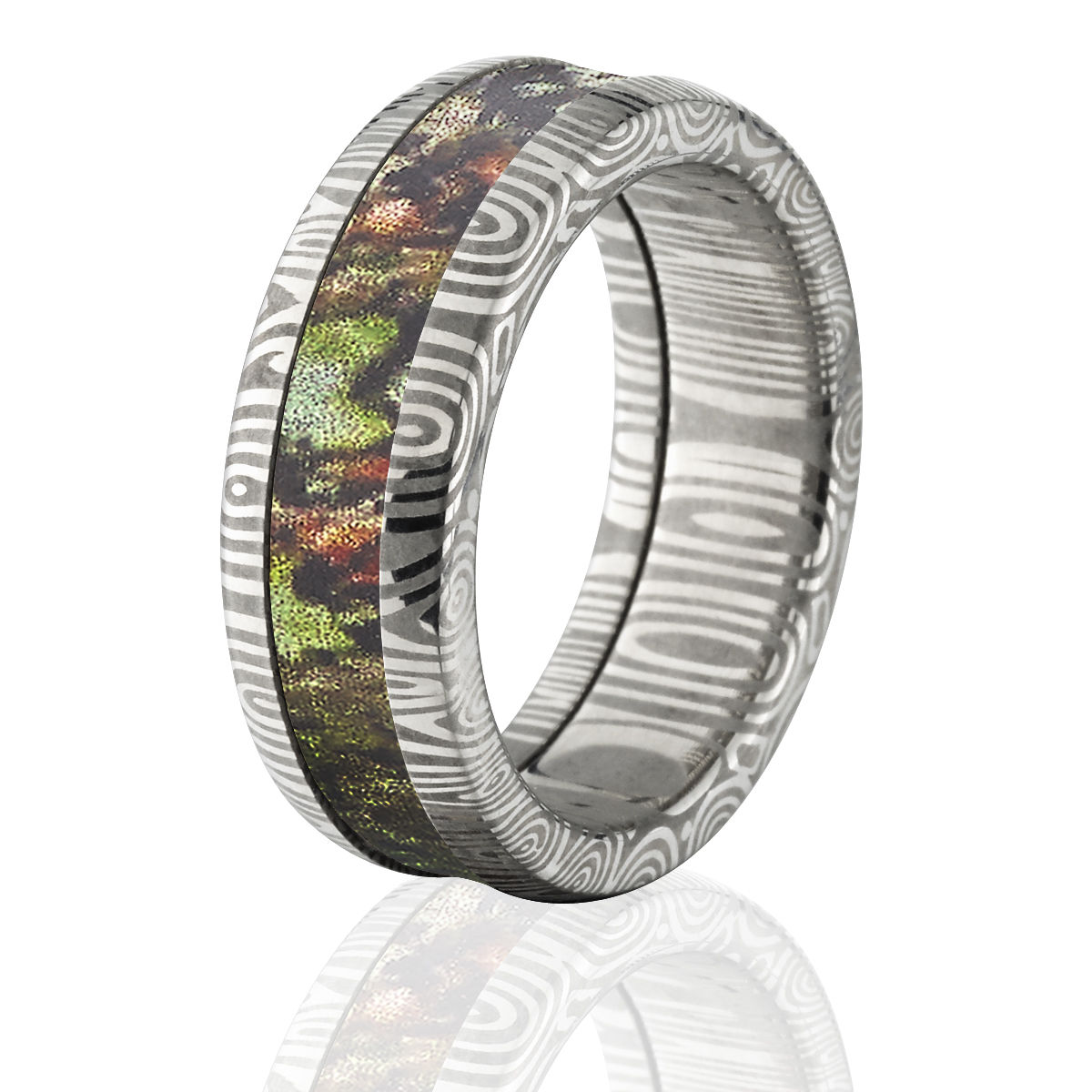 edges wedding rings band scorpion with beveled black tungsten camo