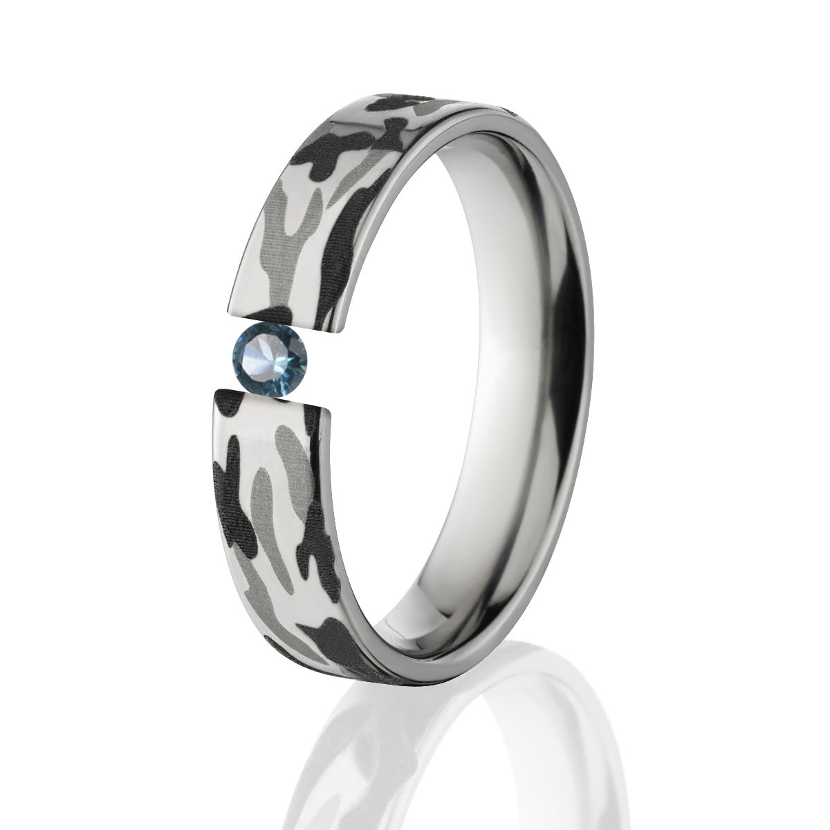Blue Topaz, Titanium Camo Ring, Tension Set Ring