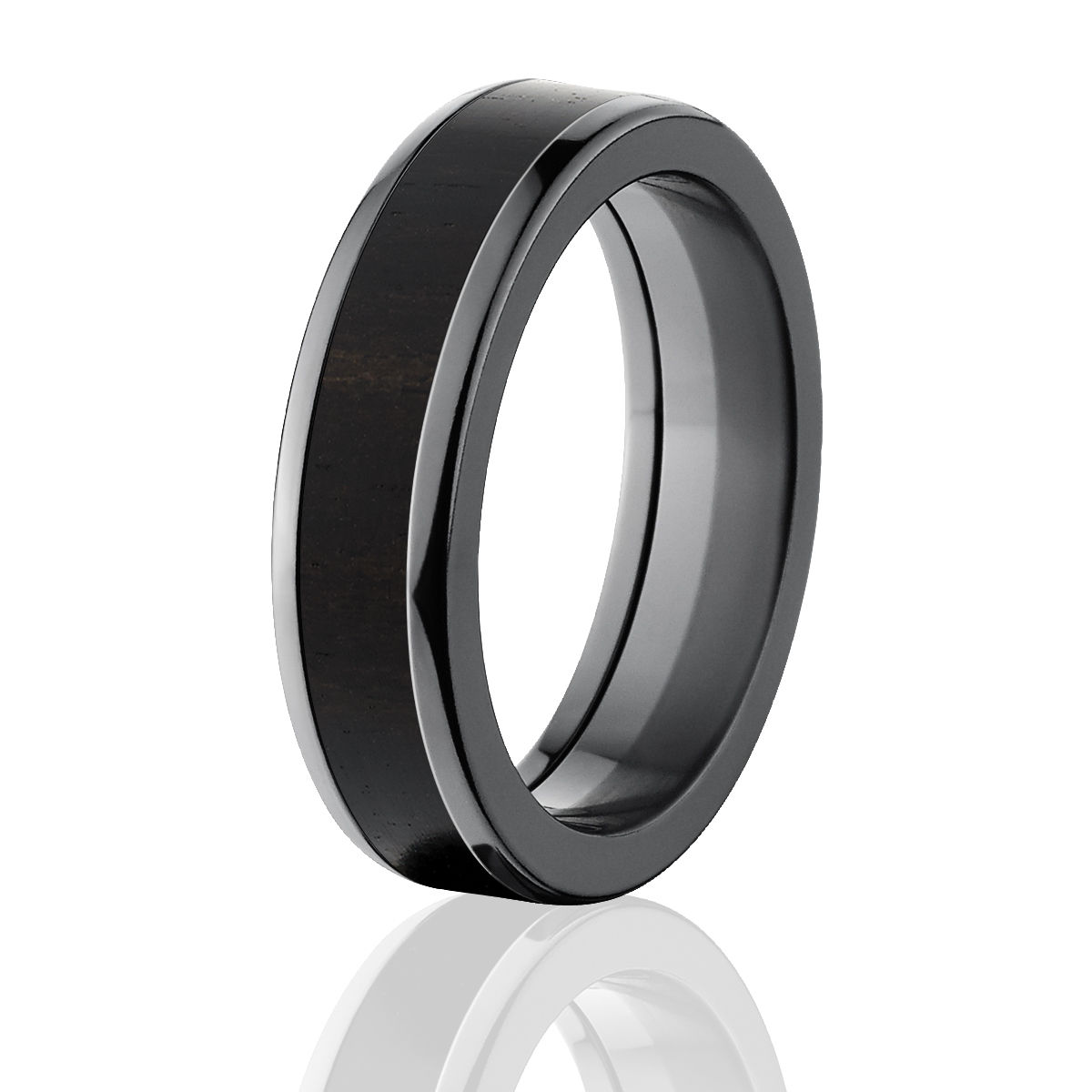 African Blackwood Bands: Black Rings With Wood, African BlackWood Wedding Band