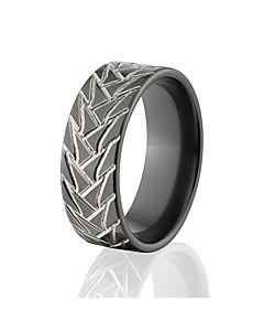 Road Warrior Tire Tread Rings Two Tone Black Wedding Bands