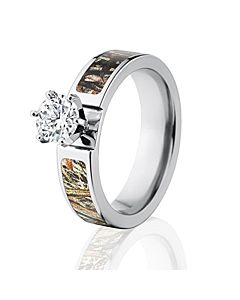 Round CZ Mossy Oak Duck Blind Camo Ring, Womenu0027s Camo