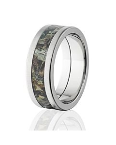 realtree aerospace titanium rings cross brushed finish camo rings - Hunting Wedding Rings