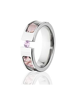 pink break up mossy oak camo rings pink sapphire camo wedding rings - Hunting Wedding Rings