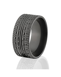 custom tire bands tread black rings tire wedding bands - Tire Wedding Rings