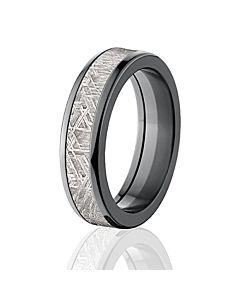 6mm half round meteorite rings bands meteorite wedding rings usa made gibeon meteorite ring - Meteorite Wedding Rings