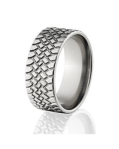 custom titanium tire tread rings tire wedding bands - Mud Tire Wedding Rings